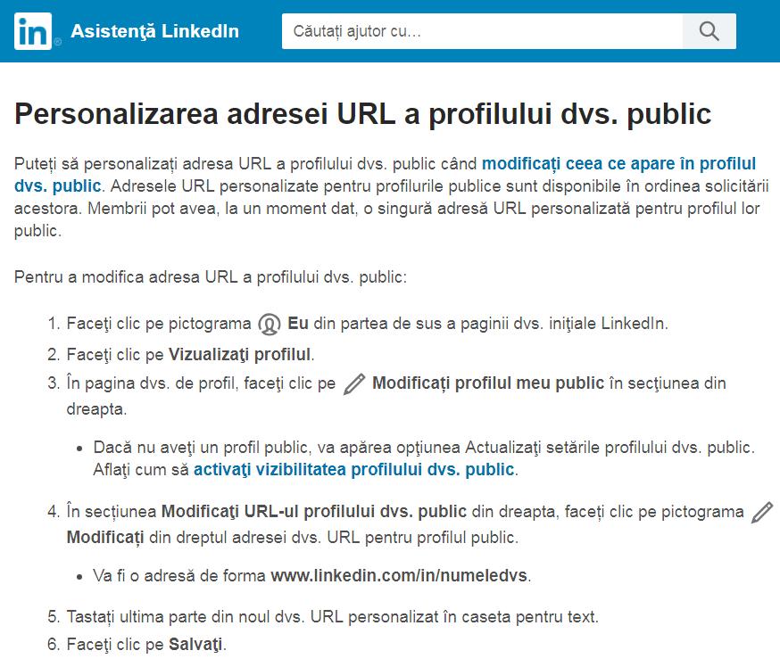 personalizare url profil linkedin