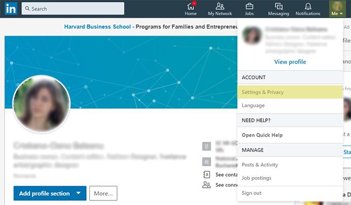 Închiderea contului de LinkedIn pasul 1