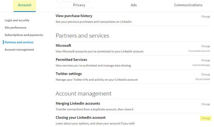 Închiderea contului de LinkedIn pasul 2