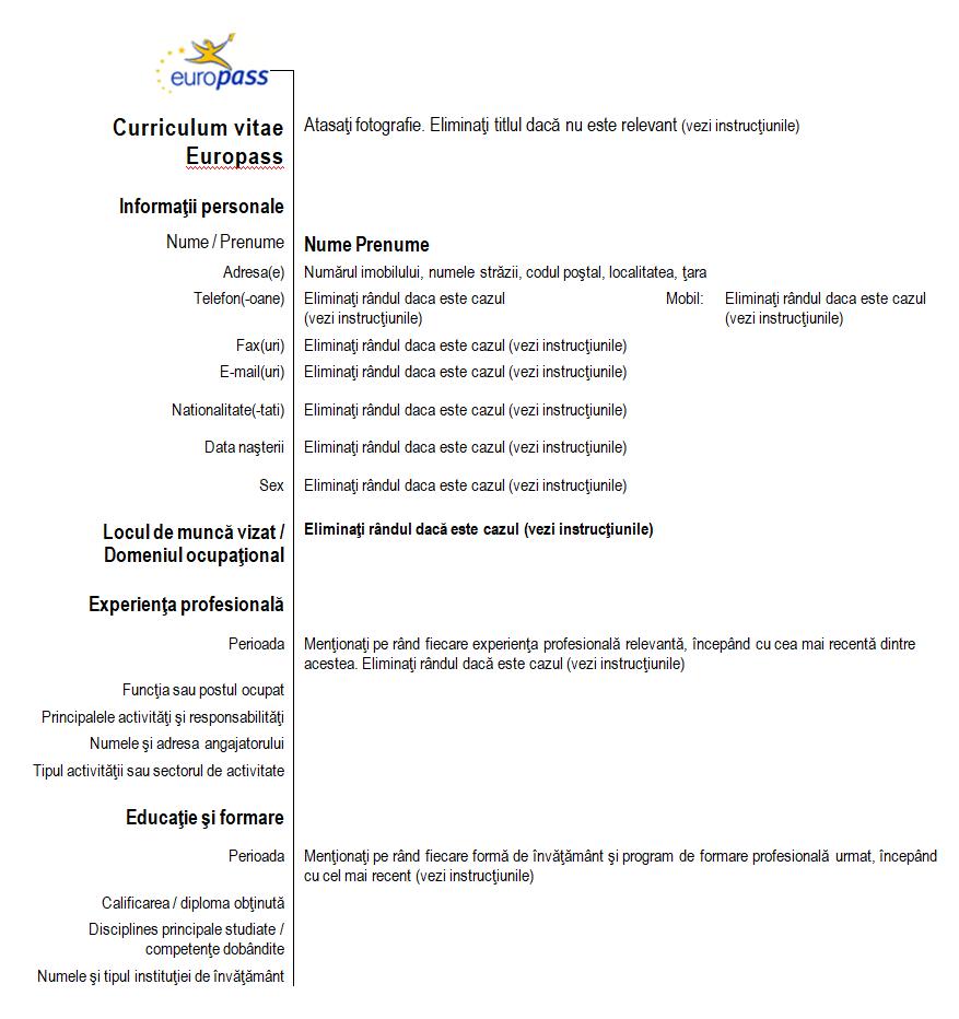 CV model Europass română