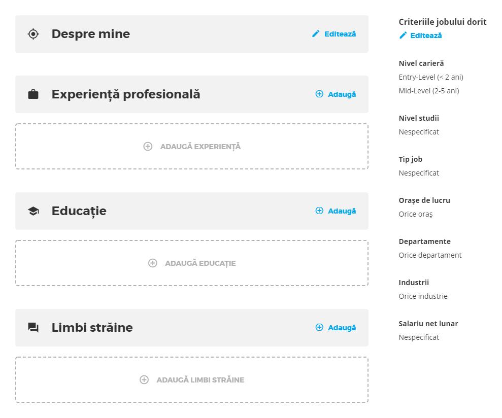 exemplu completare CV ejobs